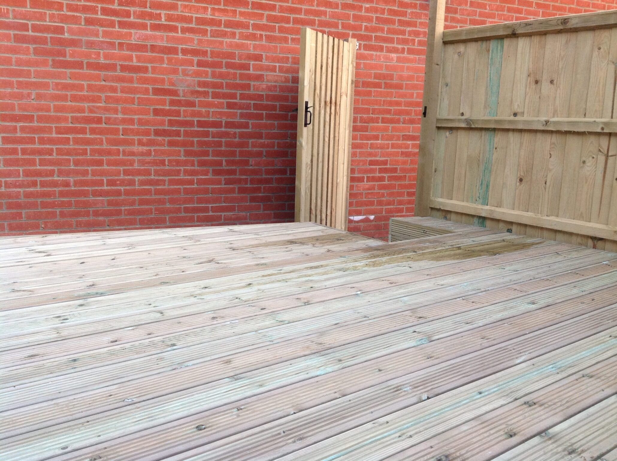 Timber gate, fence and decking