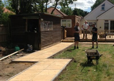 Path and large decking.